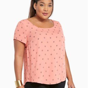 Torrid Owl Print Georgette Button Back Top